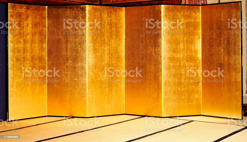 Japanese traditional large gold folding screen on Tatami mat stock photo
