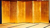 Japanese traditional large gold folding screen on Tatami mat
