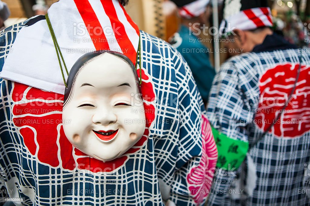 Japanese Traditional Mask on Kimono at Fuchu city in Tokyo stock photo