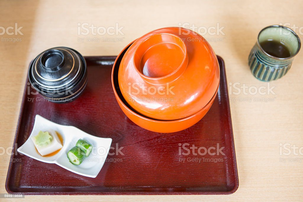 japanese traditional meal salad  soup combo serving at kyoto japan stock photo