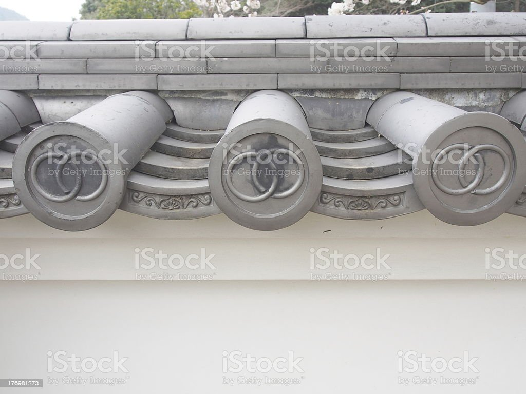 Japanese traditional roofing tile royalty-free stock photo