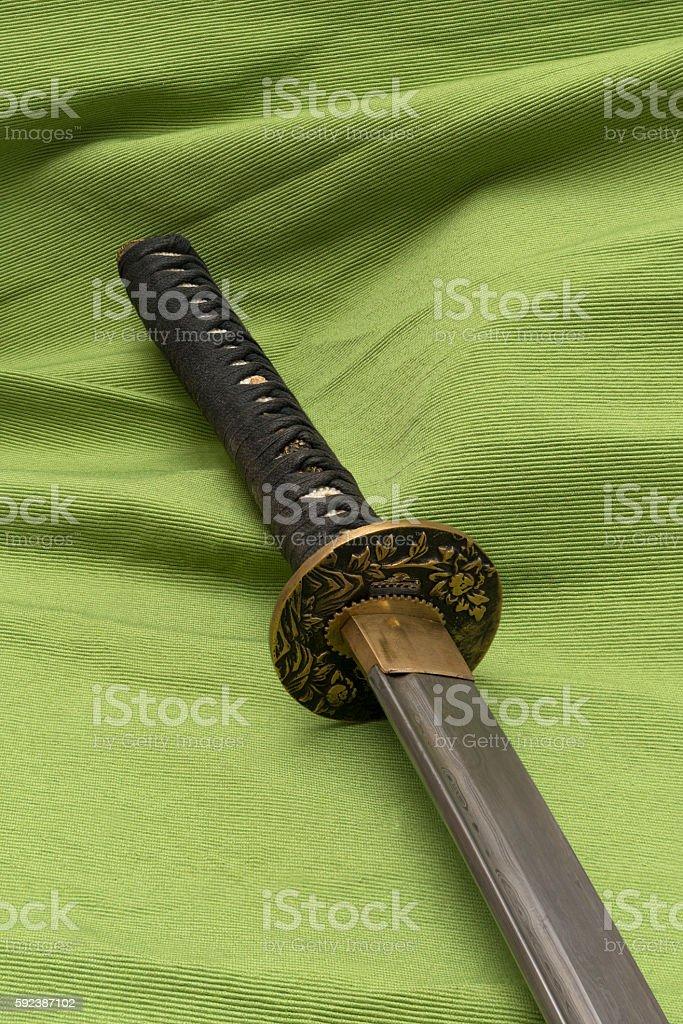 Japanese traditional samurai sword stock photo