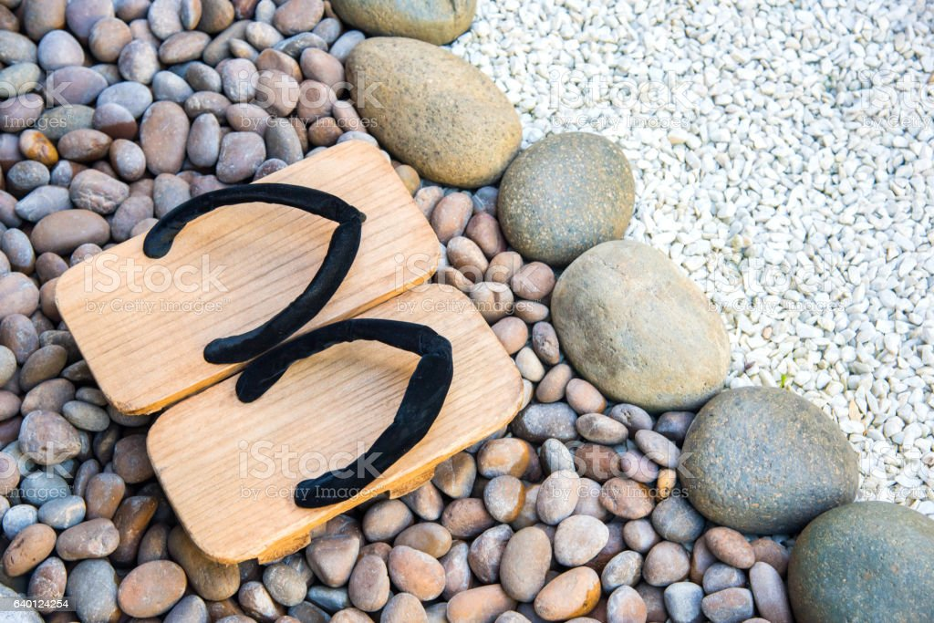japanese traditional shoes in garden. stock photo