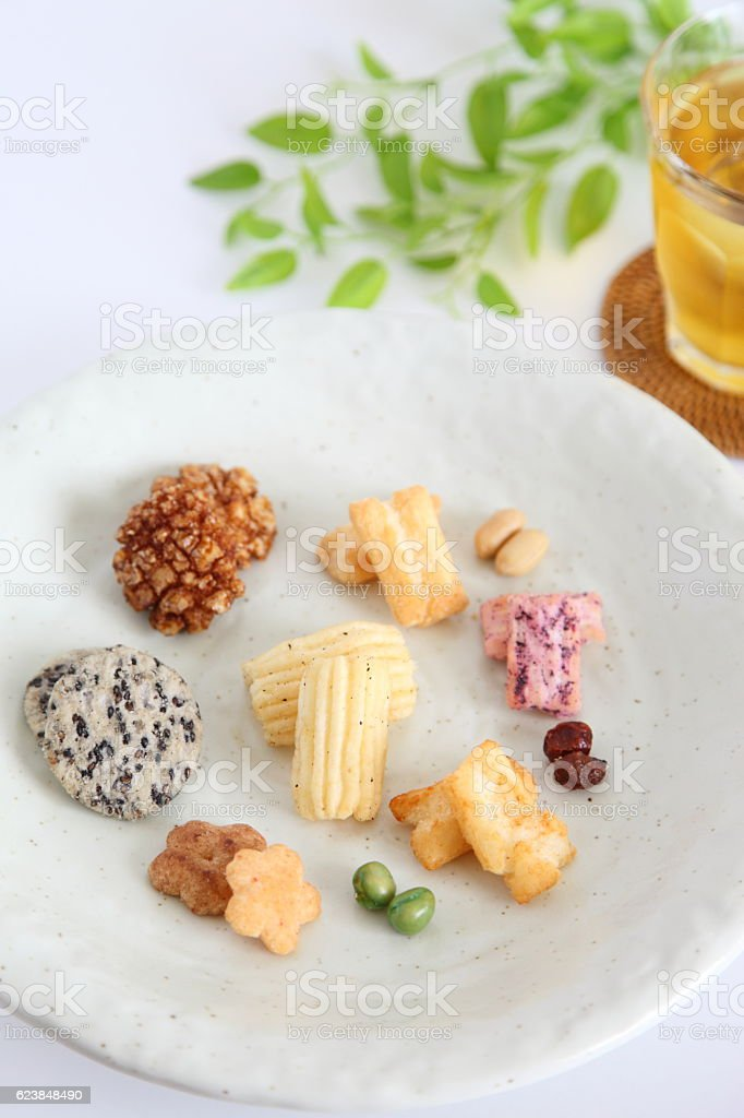 Japanese traditional snack 'Arare senbei (Assorted Rice cracker)' stock photo