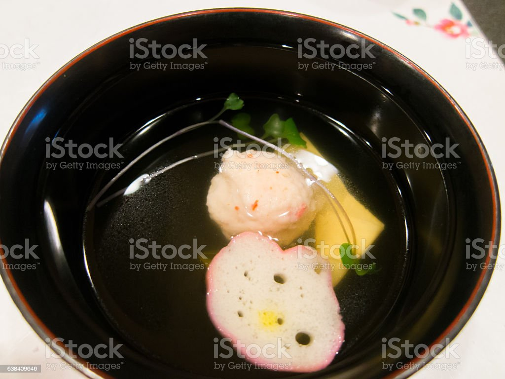 Japanese traditional soup Osuimono stock photo