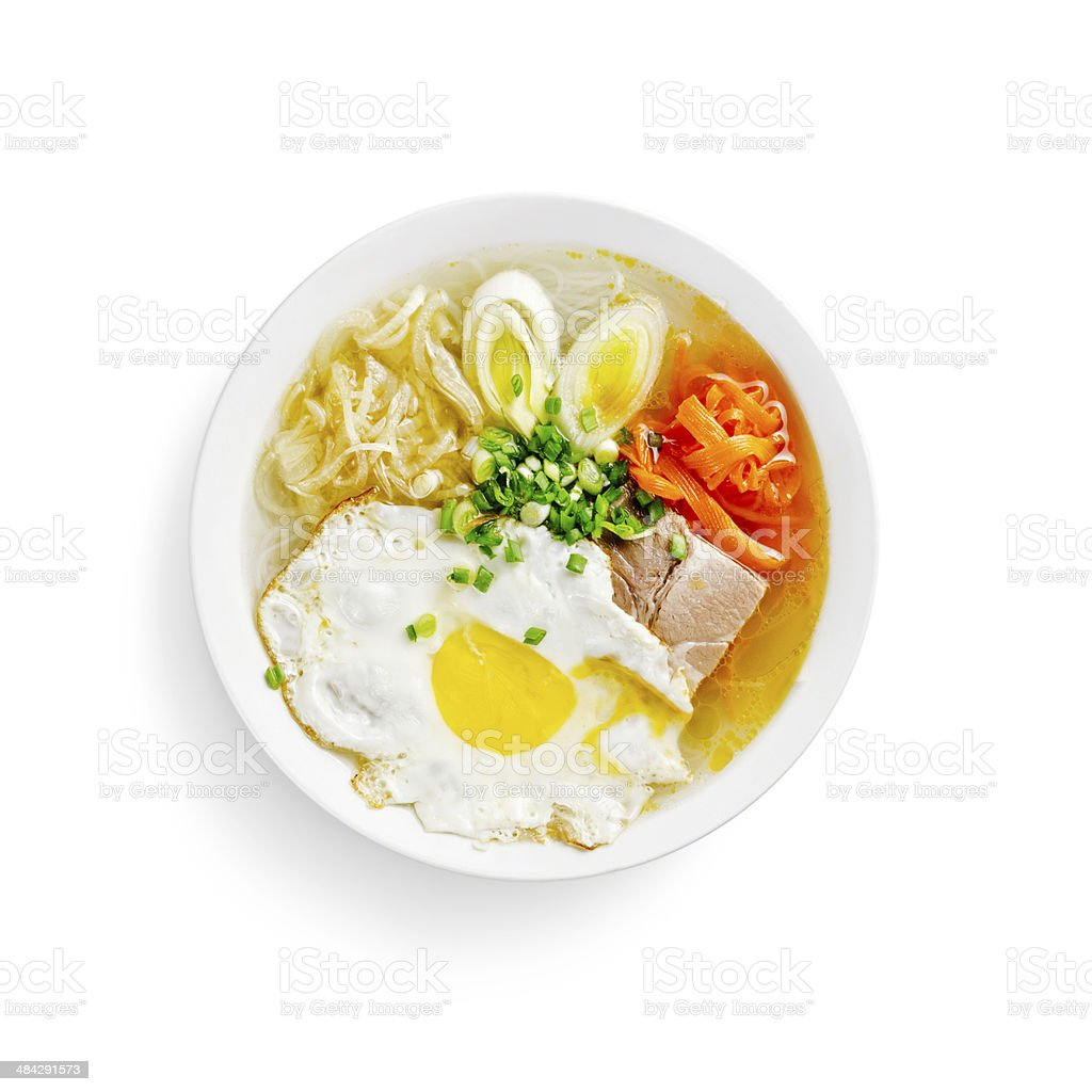 japanese traditional soup with rice noodles on a white backgroun royalty-free stock photo