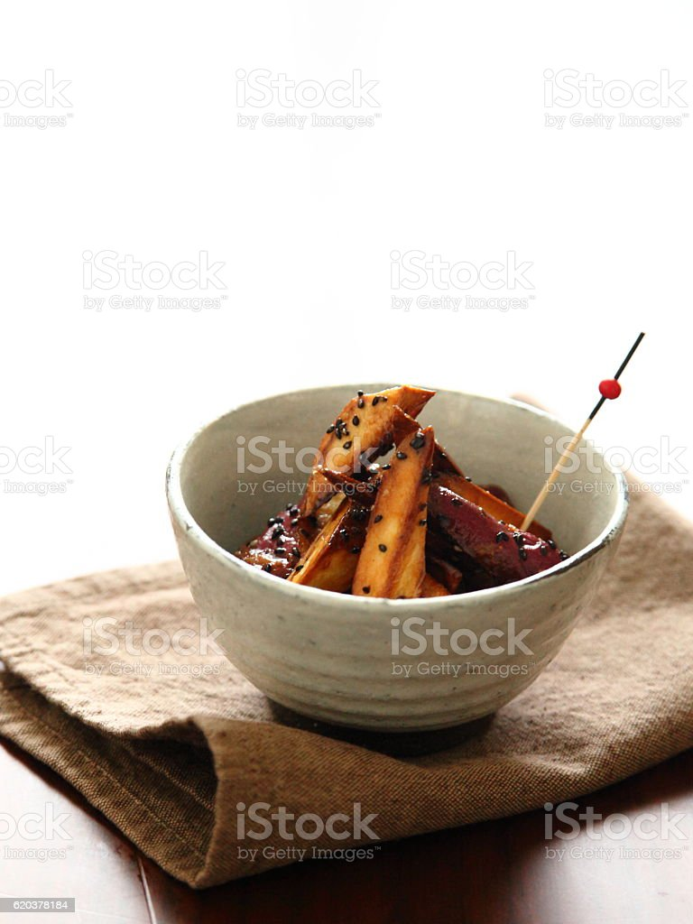 Japanese traditional sweet candied sweet potato DAIGAKUIMO stock photo