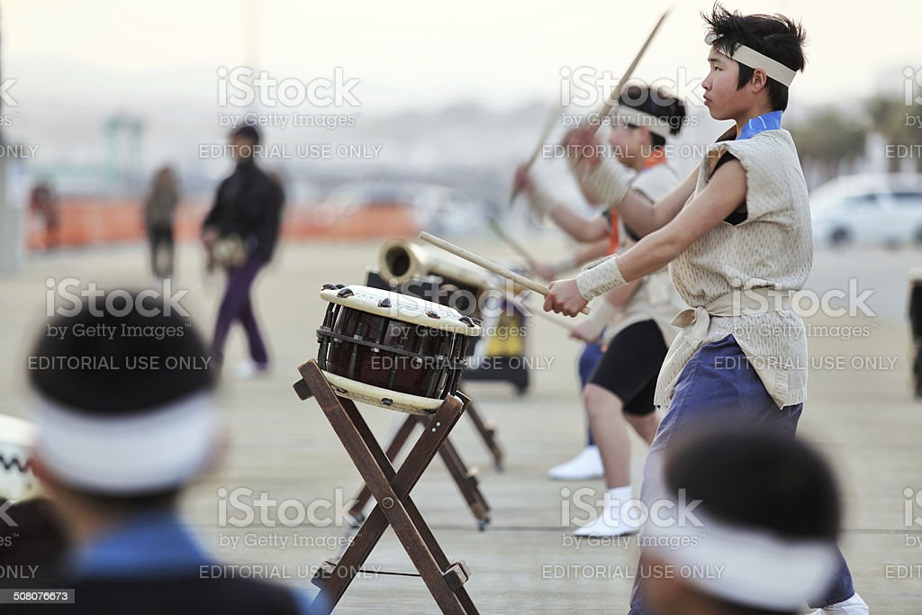 Japanese traditional Taiko Drum and drummer stock photo
