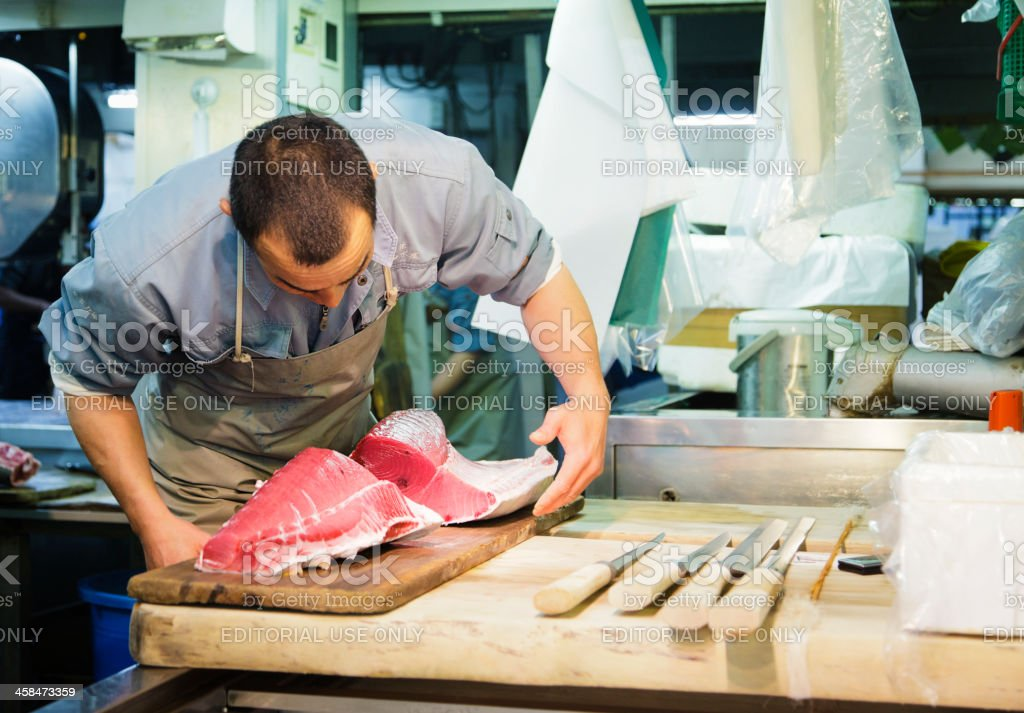 Japanese Tuna Butcher royalty-free stock photo