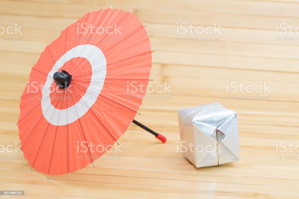 Japanese umbrella and origami stock photo