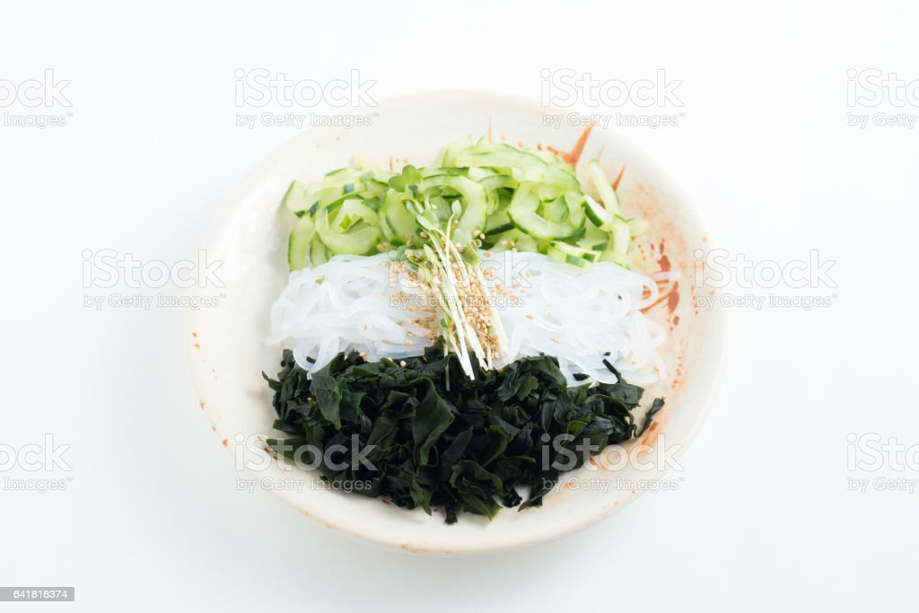 japanese venegered cucumber, seaweed, jelly fish stock photo