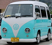 Japanese version of classic vintage van car. Naoshima-Japan. 7317