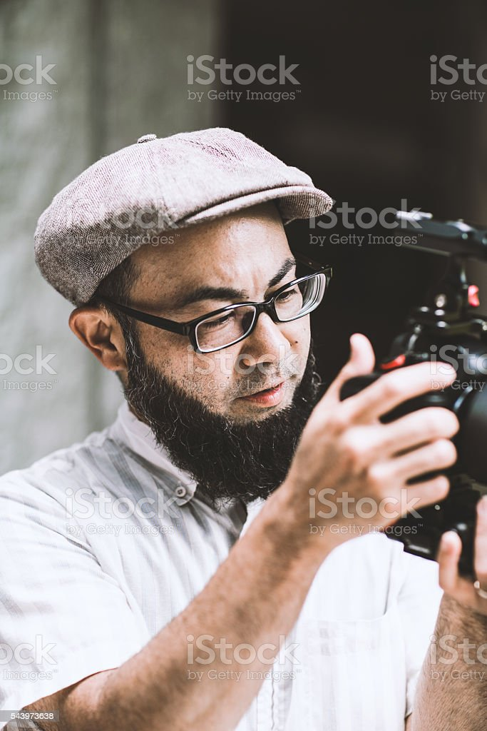 Japanese videographer in Kyoto stock photo