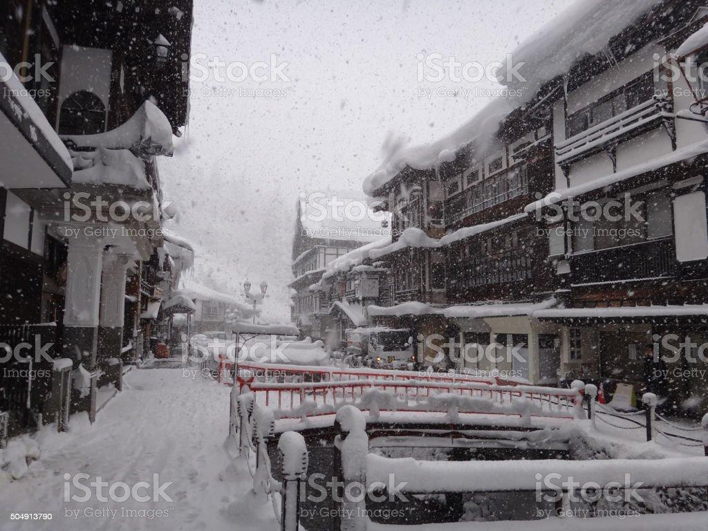 Japanese village in snow stock photo
