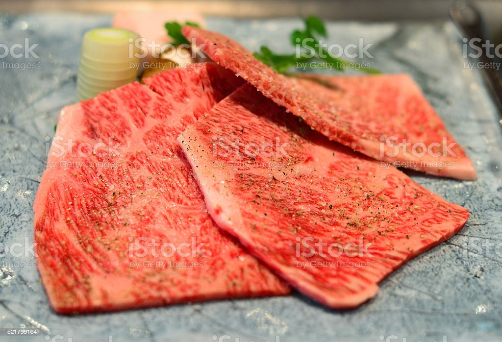 Japanese wagyu beef a5 and pepper stock photo