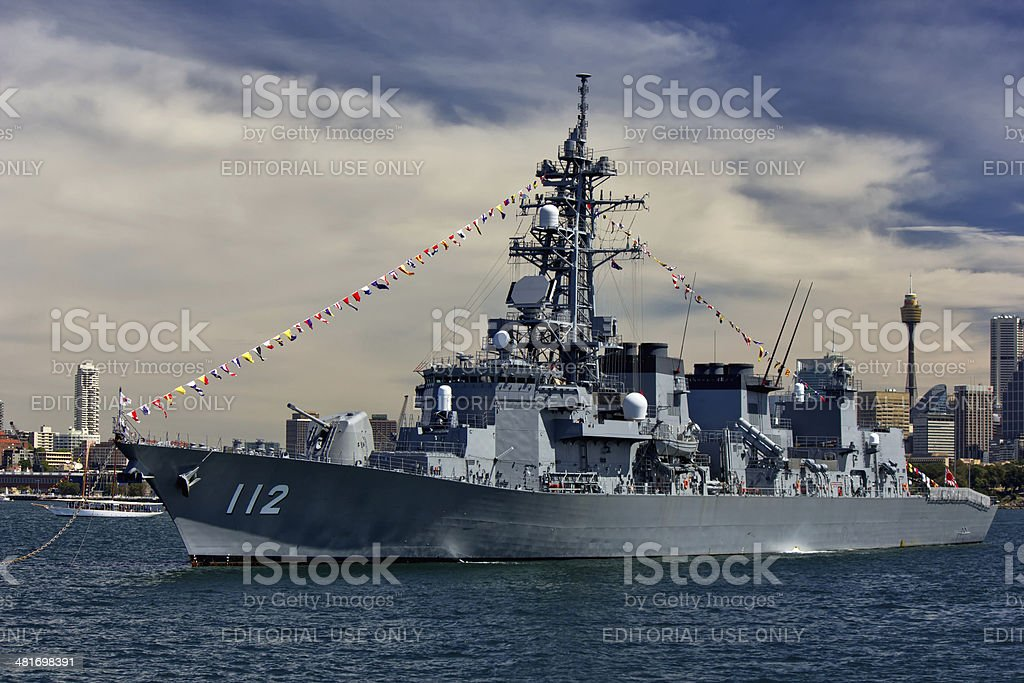 Japanese warship in Sydney Harbour stock photo