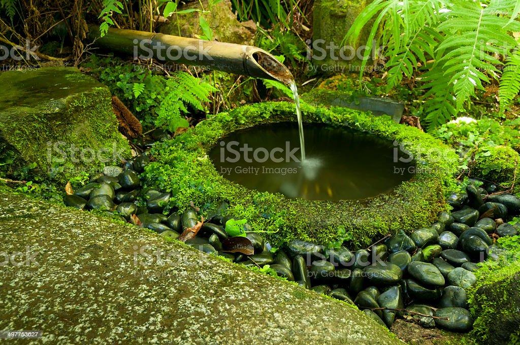 Japanese water bamboo fountain stock photo