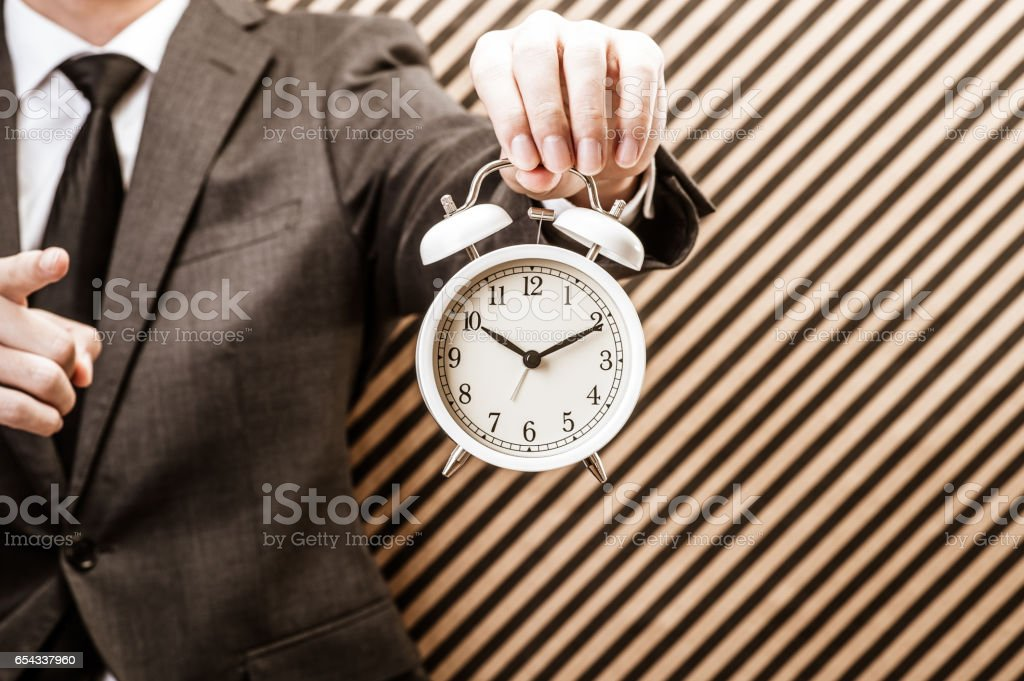 Japanese with white alarm clock stock photo