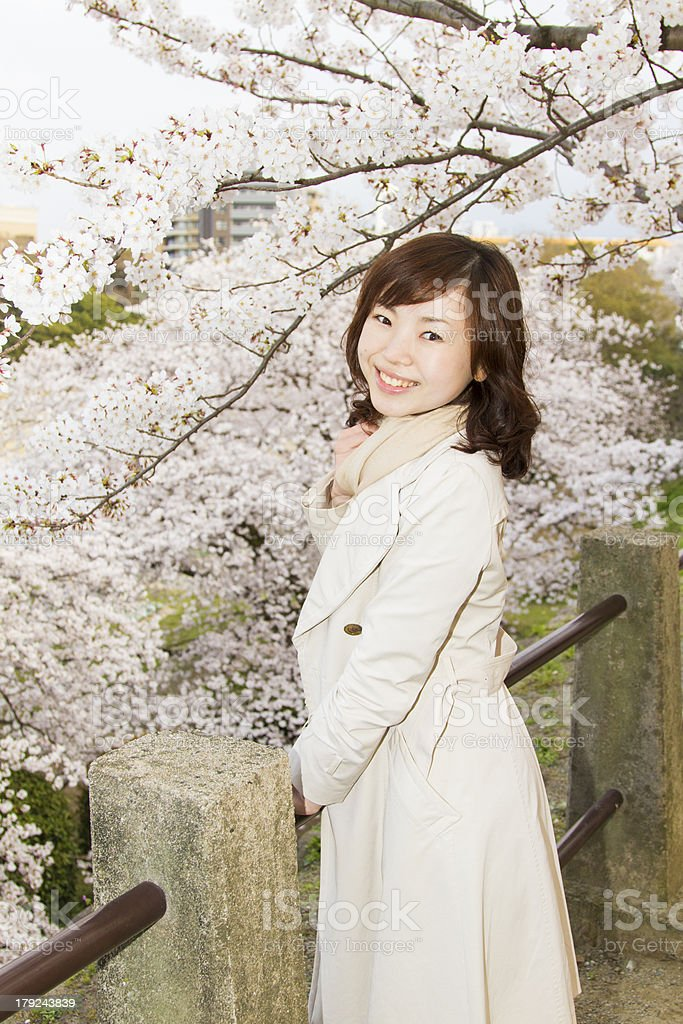 Japanese Woman Among Cherry Blossoms royalty-free stock photo