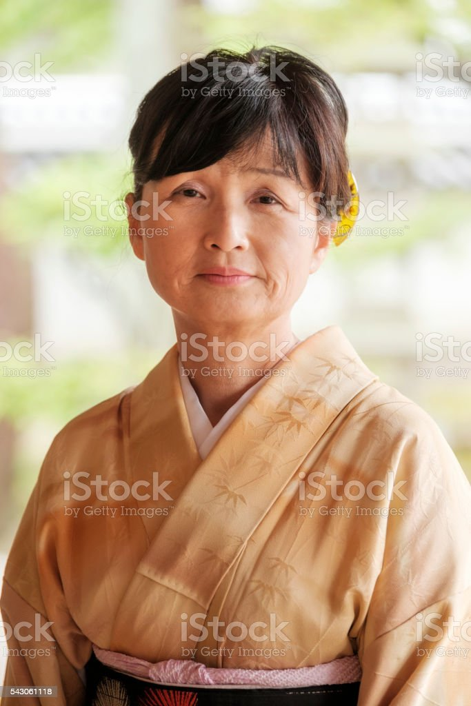 Japanese Woman at the Temple stock photo