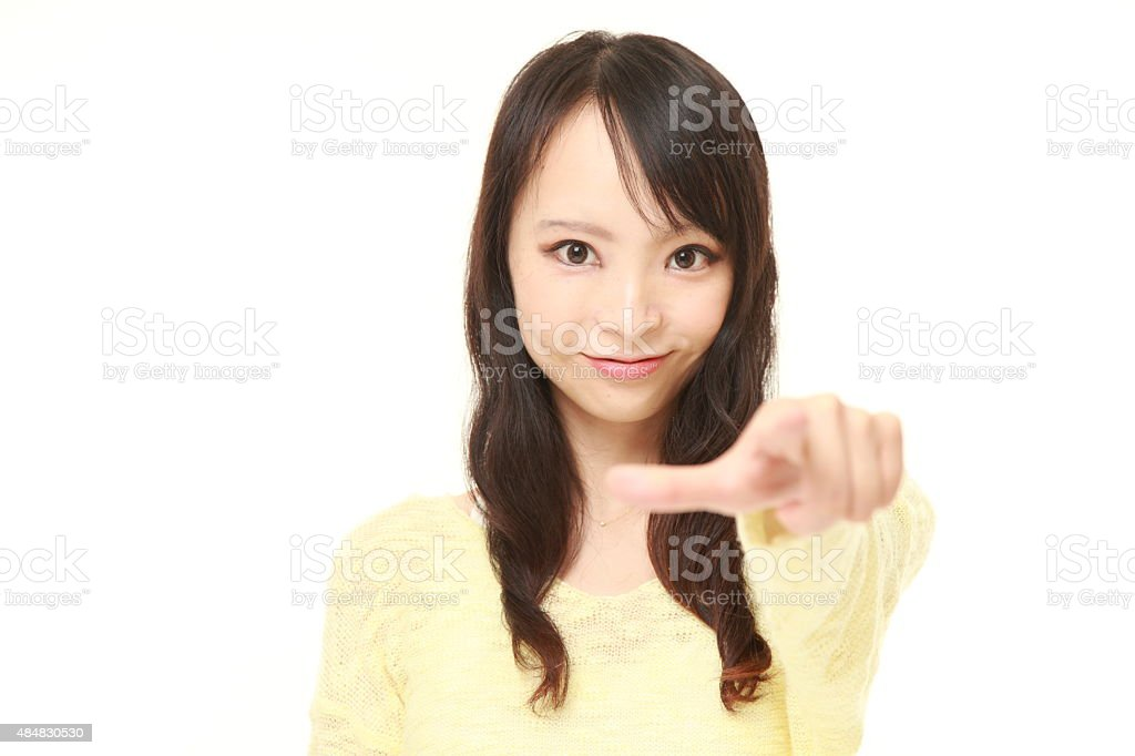 Japanese woman decided stock photo