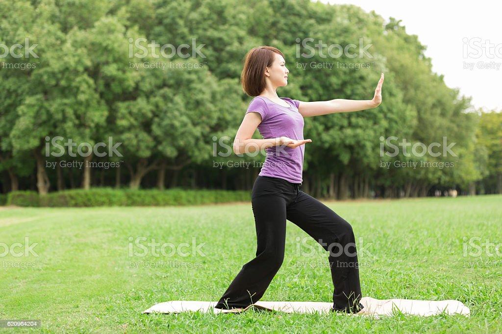 Japanese woman doing tai chi stock photo