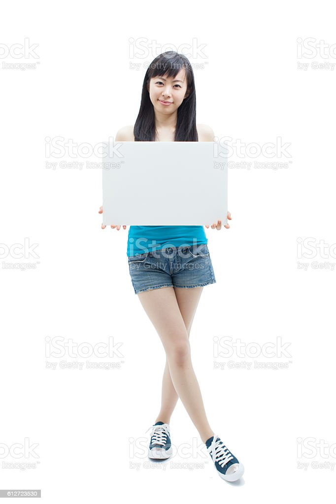 Japanese woman holding a white board stock photo