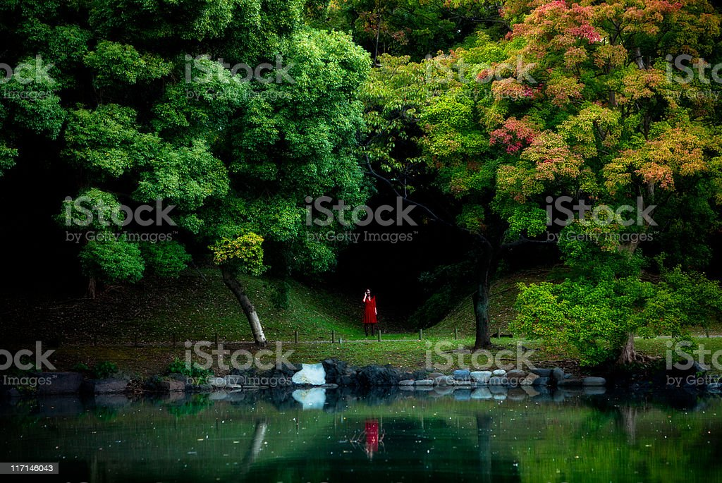 Japanese woman in a red dress royalty-free stock photo