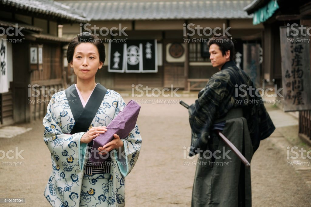 Japanese Woman in Edo Period Town stock photo