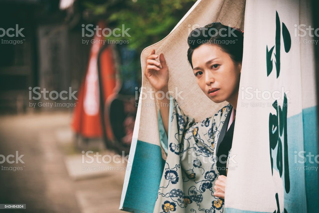 Japanese Woman in Edo Period Town stock photo