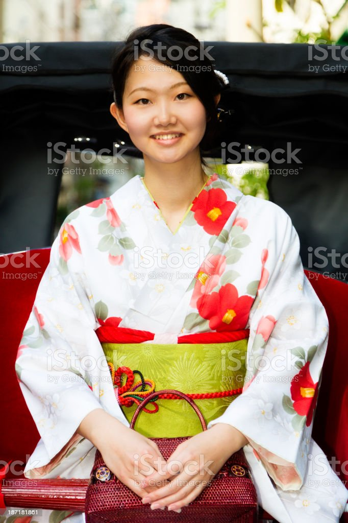 Japanese Woman in Jinrikisha royalty-free stock photo