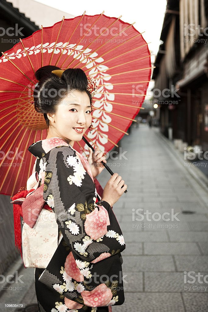 Japanese Woman in Kimono and Parasol royalty-free stock photo