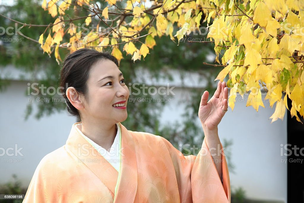 Japanese woman in kimono looking at autumn leaves at Kyoto stock photo