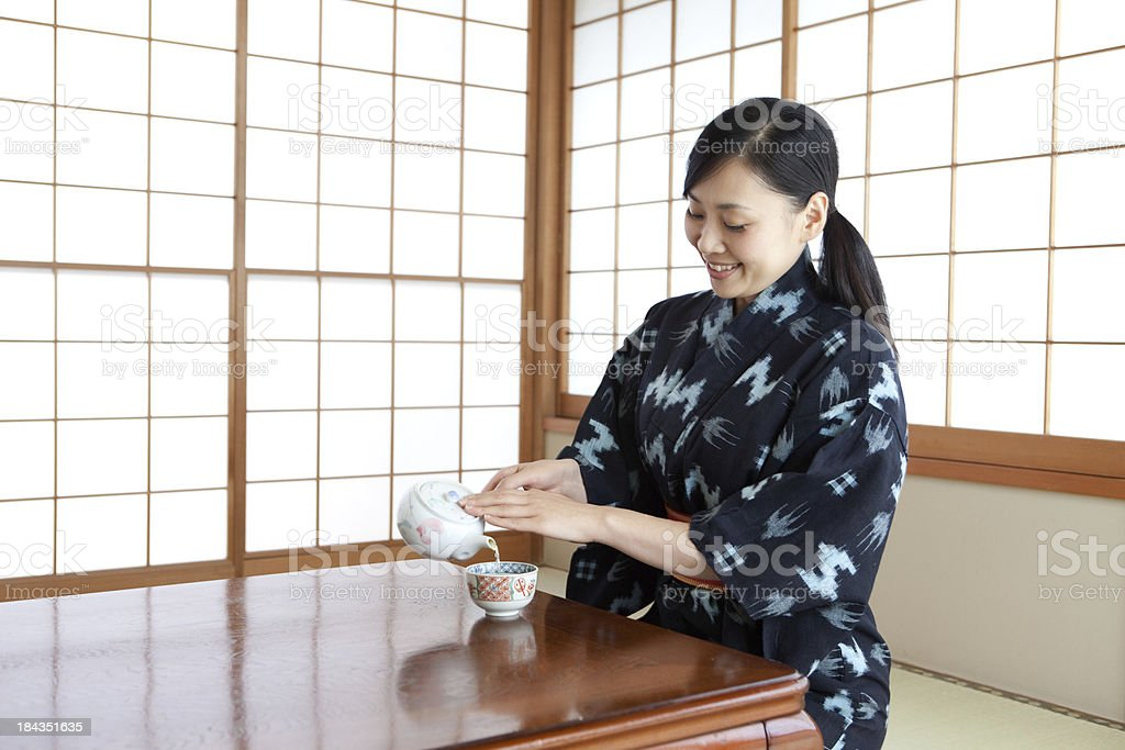 Japanese Woman in Yukata/Kimono royalty-free stock photo