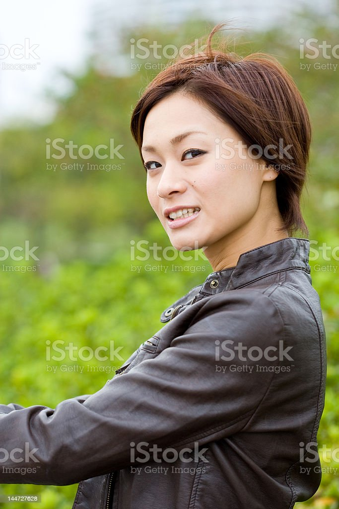 Japanese woman looking back stock photo