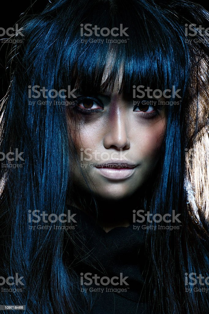 Japanese Woman Looking Spooky royalty-free stock photo