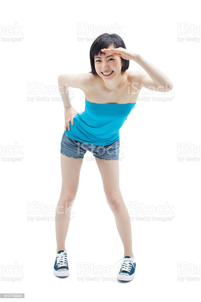Japanese woman making gestures stock photo