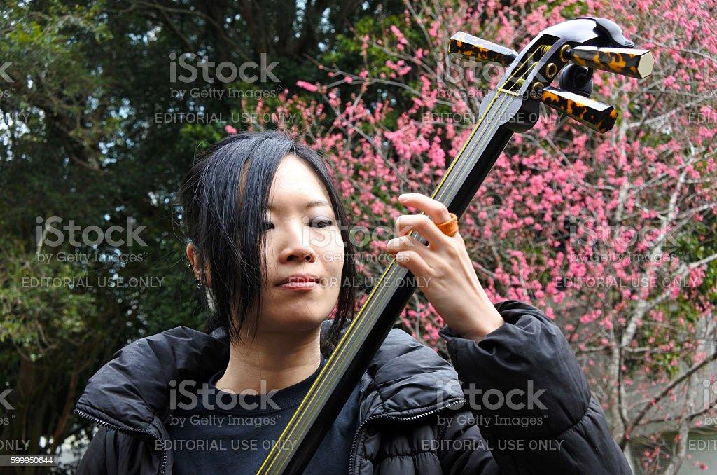 Japanese woman play on Shamisen stock photo