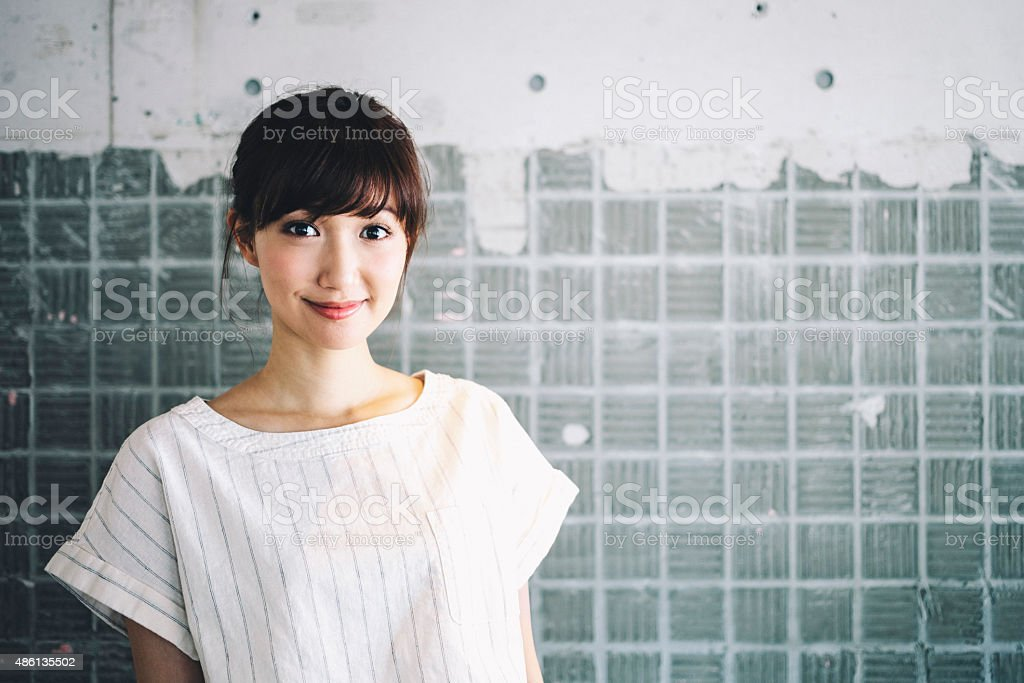 Japanese woman portrait. stock photo