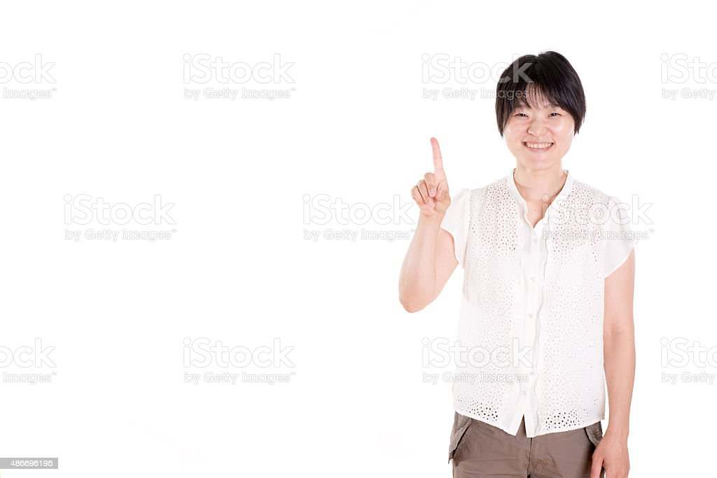 Japanese woman smailing counting one wearing a casual wear stock photo