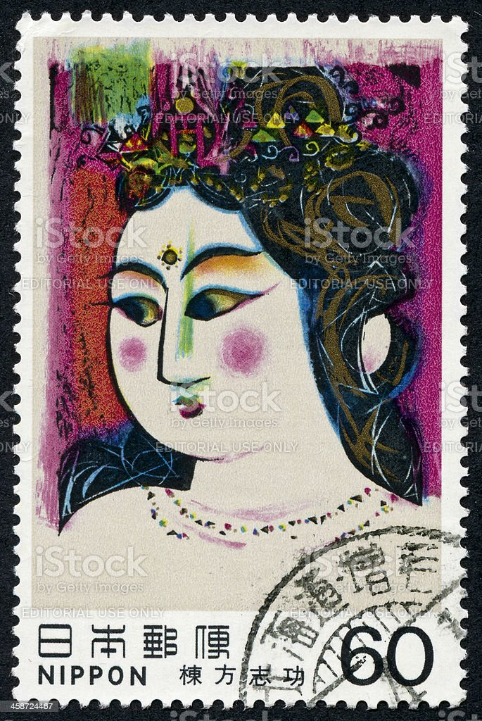 Japanese Woman Stamp royalty-free stock photo