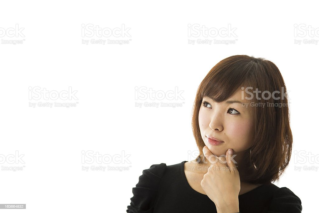 Japanese Woman Thinking royalty-free stock photo
