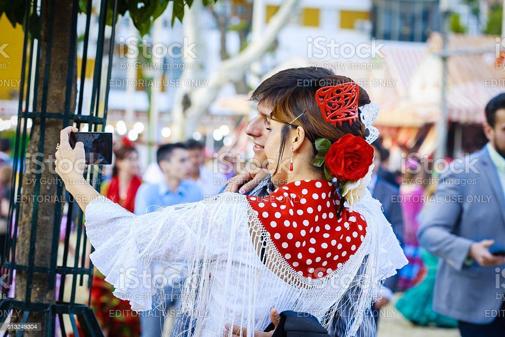 Japanese woman tourist at the Seville's April Fair stock photo