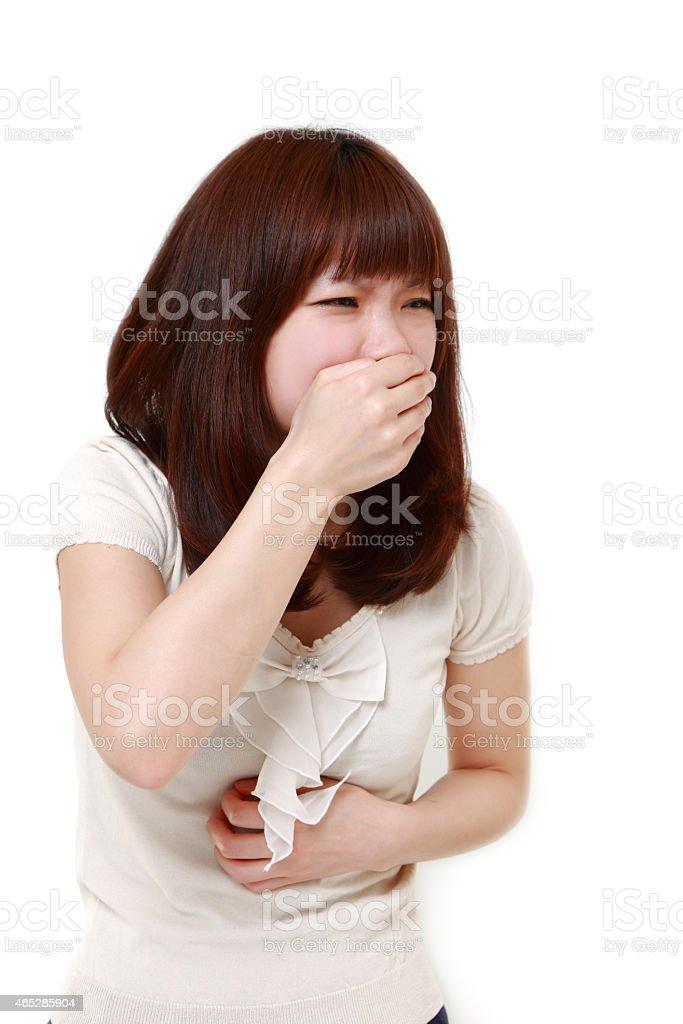 Japanese woman vomit stock photo