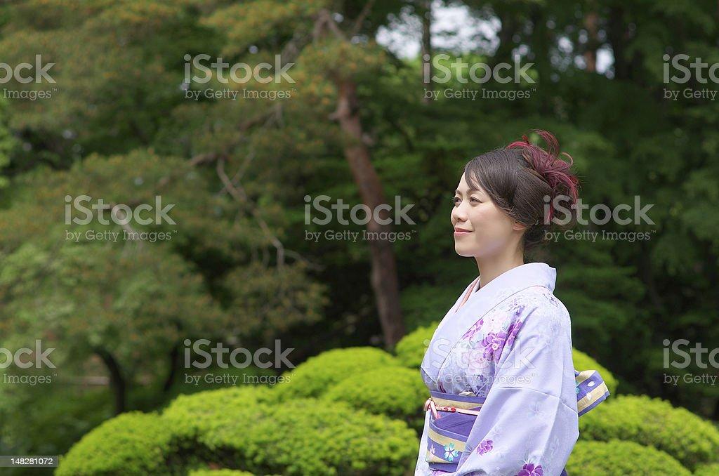 Japanese woman wearing a Kimono royalty-free stock photo