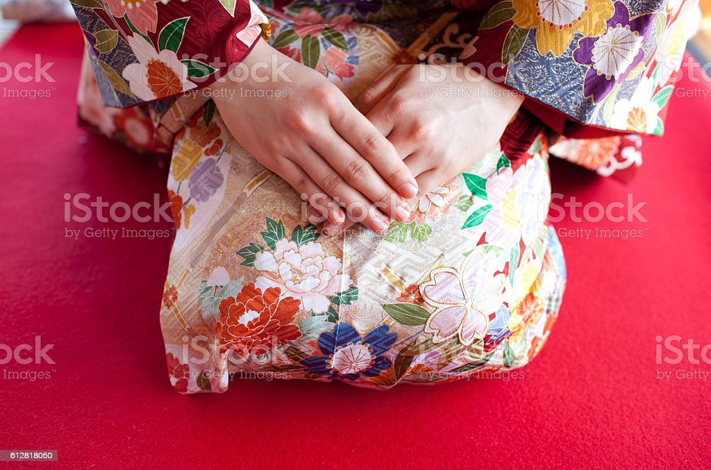 Japanese woman wearing kimono stock photo