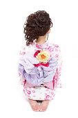 Japanese woman wearing yukata in white background