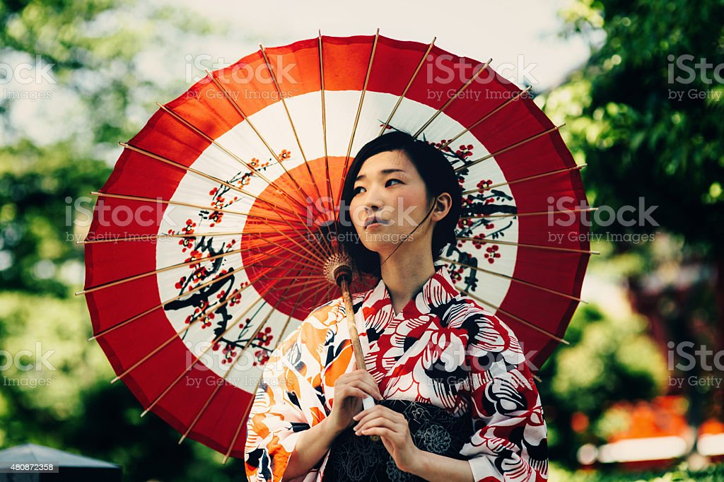 Japanese woman with oil paper umbrella stock photo