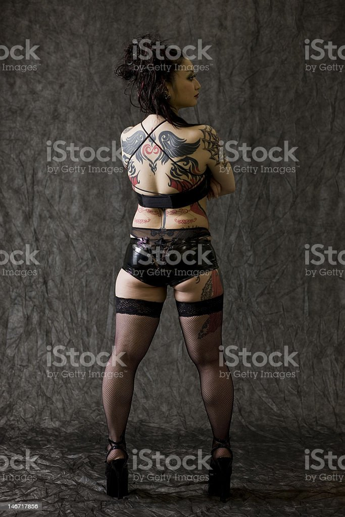 Japanese woman with tattoos royalty-free stock photo