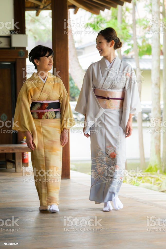 Japanese Women at the Temple stock photo